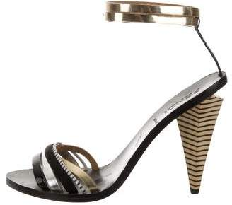 Fendi Metallic Multistrap Sandals