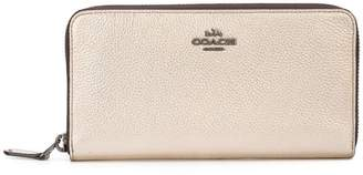Coach Metallic leather accordion zip wallet