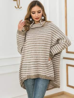 Shein Glamaker Striped High Low Hem Batwing Sleeve Sweater