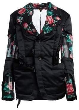 Comme des Garcons Women's Deconstructed Floral Insert Blazer - Black - Size 1 (XS)