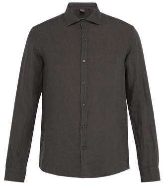 Once Milano - Crushed Linen Shirt - Mens - Dark Grey