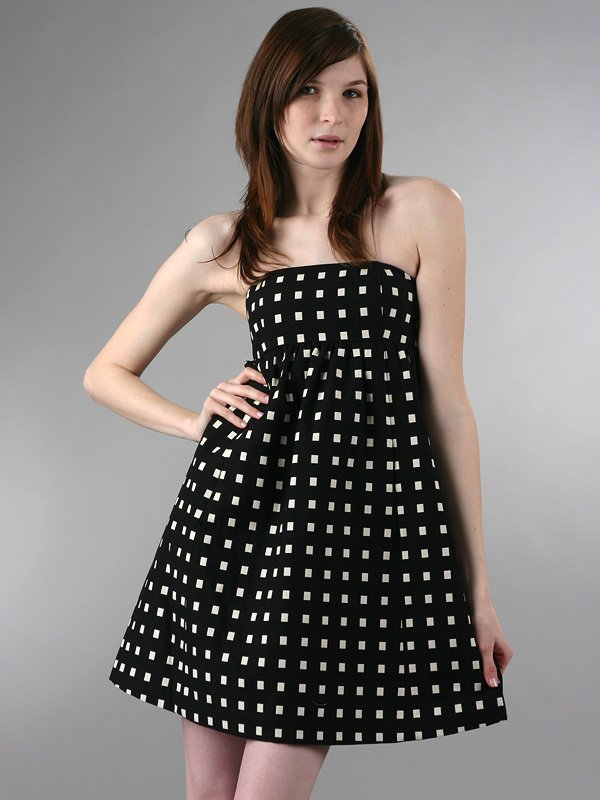 Tibi Window Pane Strapless Dress