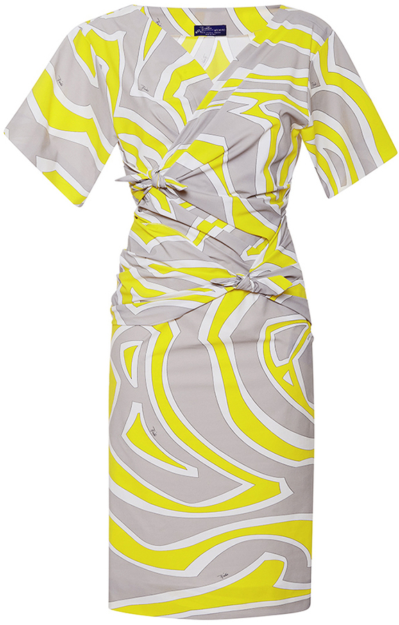 Emilio Pucci Long Sleeve Knotted Swirl V-neck Dress