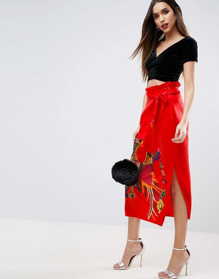 AsosASOS Embroidered Midi Skirt in Satin with Paperbag Tie Waist