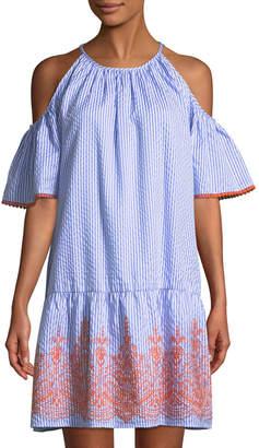Maggy London Cold-Shoulder Seersucker Shift Dress
