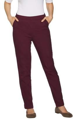 Denim & Co. Petite Twill Modern Pull-on Straight Leg Pants