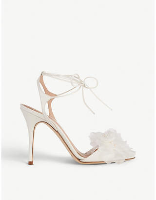 LK Bennett x Jenny Packham Summer floral-appliqué leather sandals
