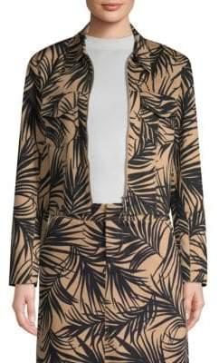BOSS Jasara Palm Leaf-Print Cropped Jacket