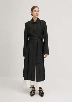 Jil Sander Pleated Front Belted Coat Black