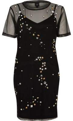 River Island Womens Black mesh embellished T-shirt dress