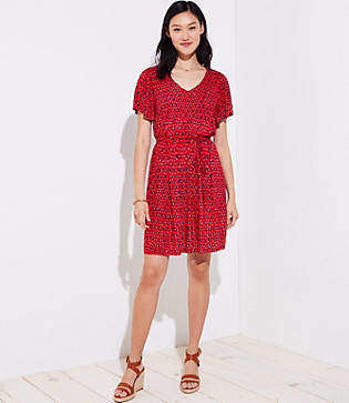 LOFT Ikat Tie Waist Flare Dress