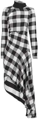 Monse Gingham Asymmetrical Midi Dress
