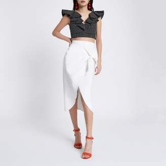 River Island Womens White tie front pencil skirt