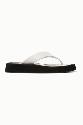 The Row Ginza Two-tone Leather And Suede Platform Flip Flops - White
