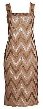 Rachel Zoe Women's Eileen Chevron Sequin Sheath Dress