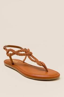 Mia Annette Braided T-Strap Sandal - Cognac