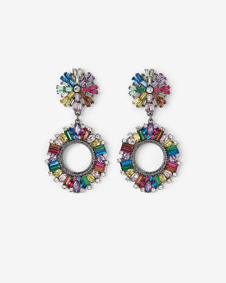 Express Rainbow Double Burst Statement Earrings