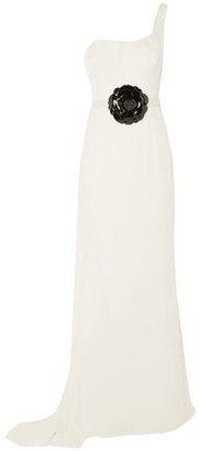 Oscar de la Renta One-Shoulder Embellished Velvet Gown