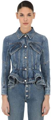 Alexander McQueen Ruffled Cotton Denim Corset Jacket