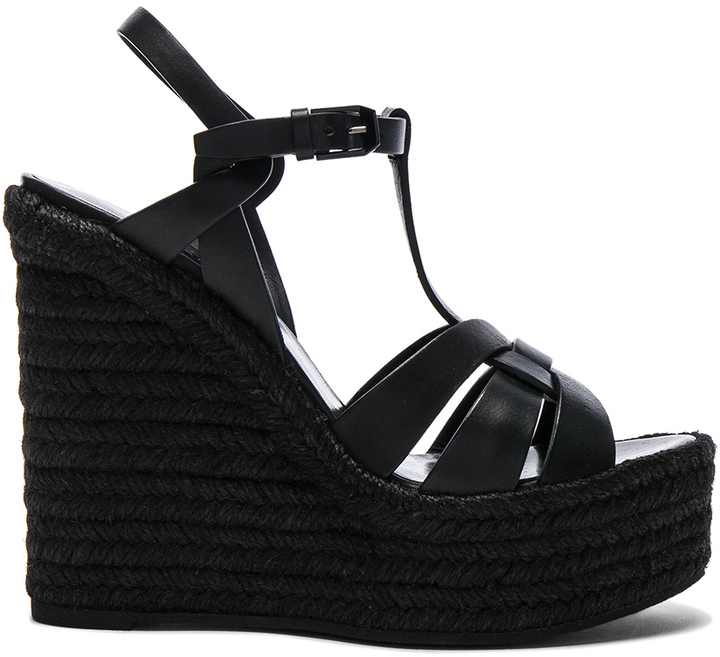 Saint Laurent Saint Laurent Leather Espadrille Wedges