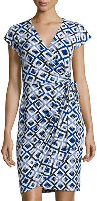 Maggy London Cap-Sleeve Jersey Wrap Dress, Blue Pattern $89 thestylecure.com