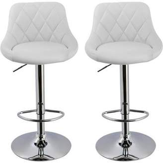 Best Master Furniture Tufted PU Leather Adjustable Height Swivel Bar Stool, Set of 2, Multiple Colors Available