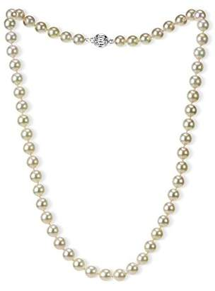 14k Gold 7.5-8mm AAAA Hand-Picked Japanese Akoya Cultured Pearl Ball Clasp Necklace