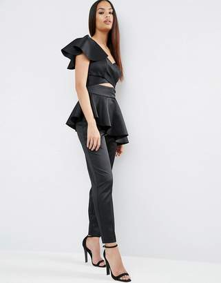 Asos Jumpsuit with One Shoulder Ruffle Detail