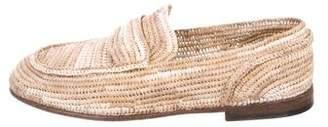 Dolce & Gabbana Raffia Round-Toe Loafers
