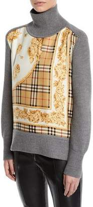 Burberry Archive Scarf-Panel Wool Turtleneck Sweater