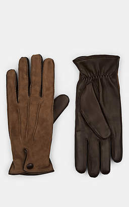 Barneys New York Men's Cashmere-Lined Suede & Leather Gloves - Gray