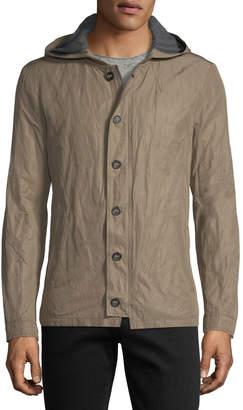 John Varvatos Tape-Button Short Parka Jacket w/ Hood