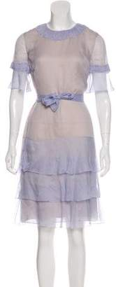 J. Mendel Ruffle Chiffon Dress