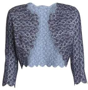 Alaia Camee Woven Scalloped Cropped Cardigan