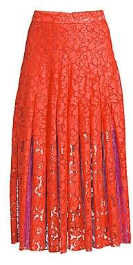 Diane von Furstenberg Women's Gardenia Box Lace Pleated Midi Skirt