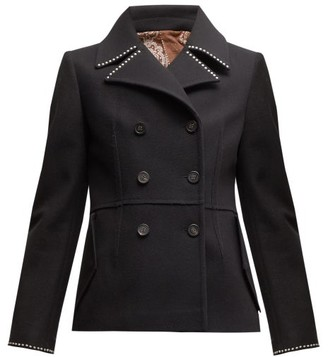 Golden Goose Studded Double Breasted Wool Blend Pea Coat - Womens - Black