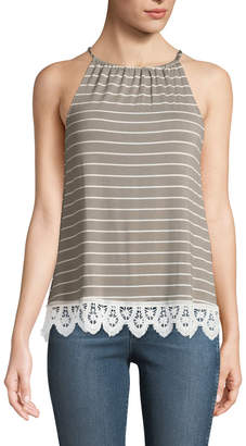 Couture Casual Halter-Neck Striped Lace-Hem Tee