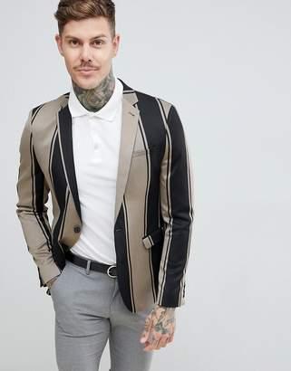 Asos DESIGN skinny blazer in bold black stripe