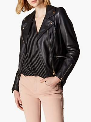 Karen Millen Leather Biker Jacket, Black