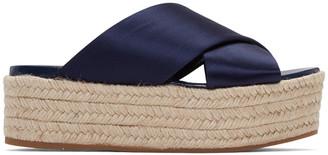 Miu Miu SSENSE Exclusive Navy Satin Beach Sandals $495 thestylecure.com