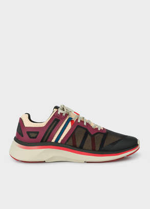 Paul Smith Men's Burgundy And Beige 'Nestor' Mesh Trainers
