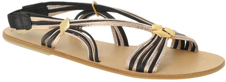 ASOS FEVER Leather Strippy Vintage Flat Sandals