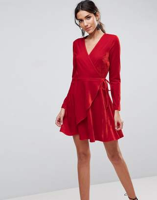 Asos Velvet Wrap Mini Dress