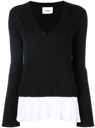 Dondup pleated hem V-neck sweater
