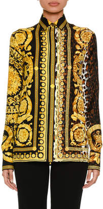 Versace Baroque Leopard-Print Button-Front Silk Twill Blouse