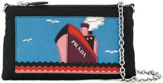 Saffiano boat patch chain wallet