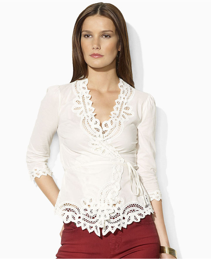 Lauren Ralph Lauren Lauren by Ralph Lauren Petite Top, Milly Three-Quarter-Sleeve Lace Wrap
