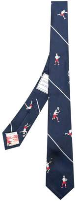 Thom Browne tennis embroidered tie