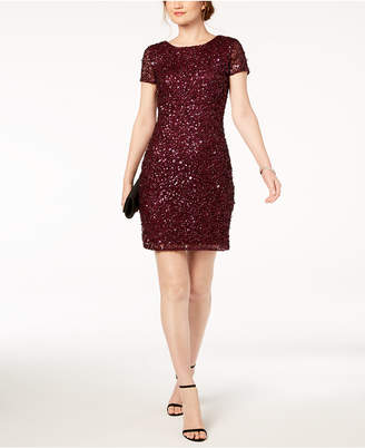 Adrianna Papell Beaded Cap-Sleeve Sheath Dress