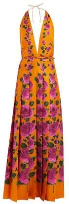 Gucci - Le Jardin Rose Print Silk Gown - Womens - Orange Print